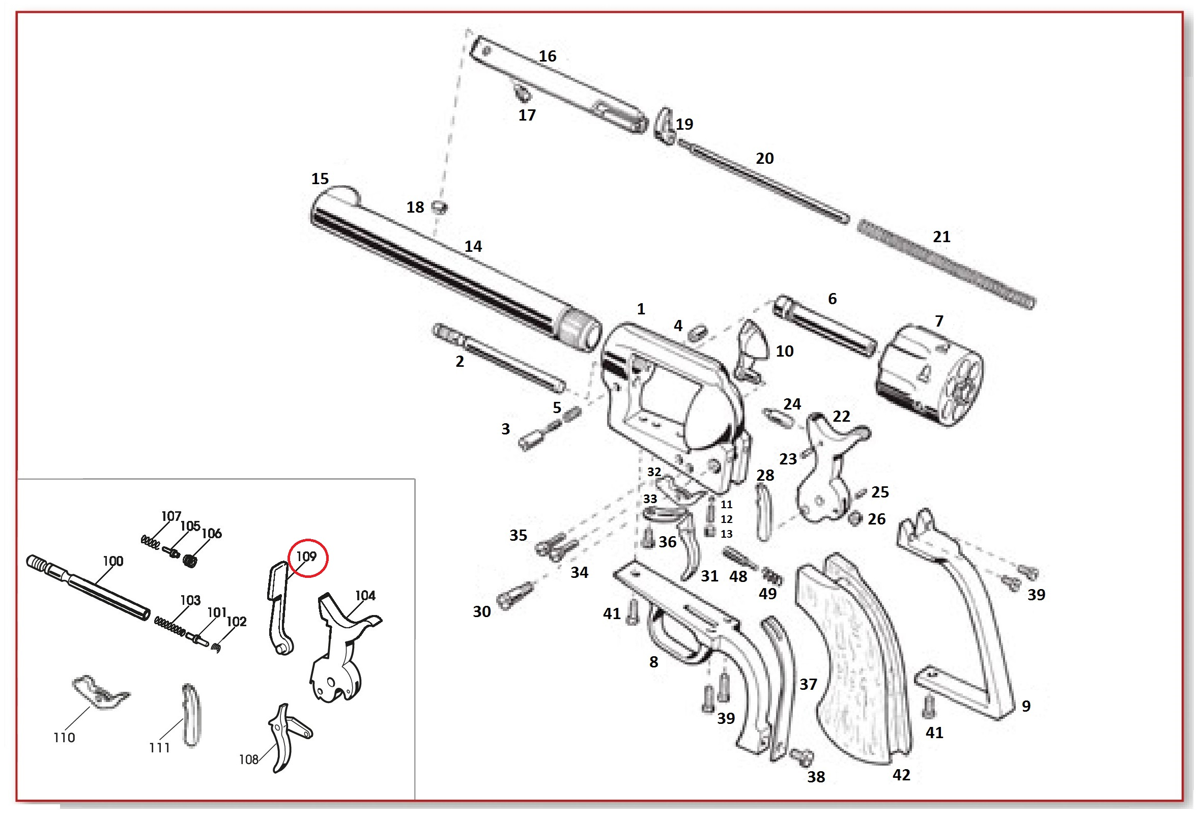 109 Transfer Bar Lever 1911 Exploded Diagram Quick View